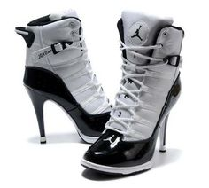 Nike 2013 New Women Air Jordan High Heels Shoes White Black - Nike Heels Nike High Heels Nike Shoes - Mobile Heeled Boots, Bootie Boots, Shoe Boots, Shoes Heels, Stiletto Heels, Jordan Heels, Air Jordan Shoes, Jordan Boots, Cute Shoes