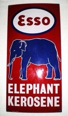 Esso Vintage Porcelain Sign  (Elephant Kerosene, Antique Oil & Gas Enamel Signs)