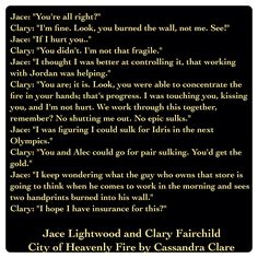 Jace Lightwood and Clary Fairchild (City of Heavenly Fire by Cassandra Clare ~ The Mortal Instruments book 6) Quote
