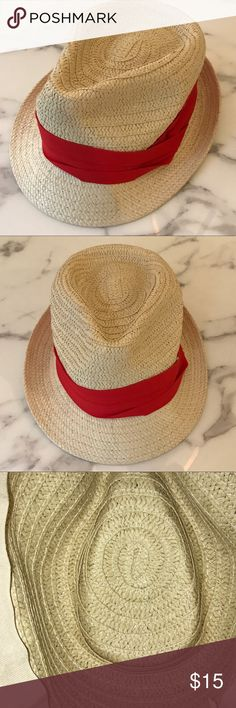 Light Woven Straw Fedora ❤️ Red Ribbon Band I purchased this at my local Target, but unfortunately ripped out the tag on the inside because it was annoying! I wore it once as part of a Fourth of July ensemble last year. Excellent condition! Mossimo Supply Co. Accessories Hats