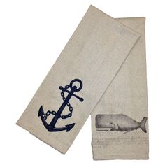 cotton and linen tea towel set with nautical motifs. Product: Set of 2 towelsConstruction Material: Cotton and linen Color: Natural and navyFeatures: Will add a touch of coastal chic to any kitchenDimensions: x eachCleaning and Care: Dry clean only Vintage Nails, Bathroom Showrooms, Secret Space, Seaside Decor, Stylish Kitchen, Resort Style, Coastal Living, Coastal Cottage, Nautical Theme