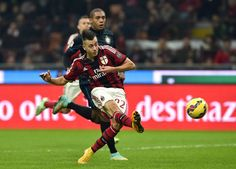 Stephan El Shaarawy of AC Milan in action during the Serie A match between AC Milan and FC Internazionale Milano at Stadio Giuseppe Meazza on November 23, 2014 in Milan, Italy.