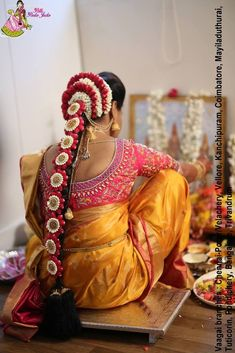 Order Fresh flower poolajada, bridal accessories from our local branches present over SouthIndia, Mumbai, Delhi, Singapore and USA. South Indian Wedding Hairstyles, Bridal Hairstyle Indian Wedding, Bridal Hair Buns, Bridal Braids, Bridal Hairdo, Indian Hairstyles, Bride Hairstyles, Engagement Hairstyles, Updo Hairstyle