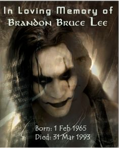 "This is an attempt to make another ""In Memorian"". This one is dedicated to Bruce and Linda Lee's son Brandon who died far to young at the age of In Memorian, Brandon Lee Brandon Lee Death, The Crow Quotes, Michael Wincott, In Memorian, Crow Movie, Bruce Lee Family, Carlos Martinez, Bruce Lee Quotes, Crow Art"