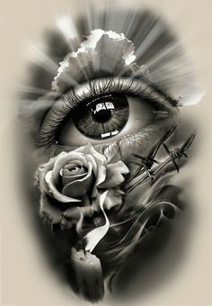 Tattoo Design, realistic eye with rose and candle. dessins de tatouage 2019 dessins de tatouage 2019 Tattoo Design, realistic eye with rose and candle. Skull Tattoos, Rose Tattoos, Leg Tattoos, Body Art Tattoos, Sleeve Tattoos, Tatoos, Future Tattoos, Tattoos For Guys, Tattoo Drawings