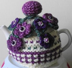 pretty purple and green... hand knitted by peerietreisures on Etsy