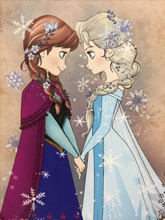 Anna and Elsa in their sisterly love with magical snowflakes