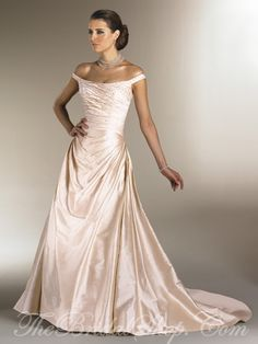 champagne color wedding dress, I like how simply elegant and timeless the cut on this dress is.