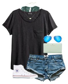 """ootd"" by tessorastefan ❤ liked on Polyvore featuring Free People, H&M, Converse, Kendra Scott, Kate Spade and Ray-Ban"