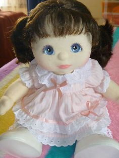 I loved these dolls! They are the most adorable! = My Child Doll --- Brunette with pigtails wearing a pink dress, replica socks and original shoes. Felt Dolls, Baby Dolls, My Child Doll, Princess Sophia, Bella Rose, Love My Kids, Cabbage Patch Kids, My Childhood Memories, Retro Toys