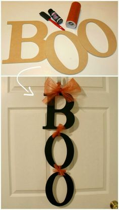 BOO sign Could be done with Fall, adding leaves Halloween decorations. BOO sign Could be done with Fall, adding leaves - Door Diy Deco Halloween, Moldes Halloween, Diy Halloween Dekoration, Soirée Halloween, Adornos Halloween, Manualidades Halloween, Holidays Halloween, Simple Halloween Decorations, Hollween Decorations