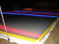 How the led strips can use in ice hockey? Outdoor Hockey Rink, Backyard Hockey Rink, Rink Hockey, Backyard Ice Rink, Hockey Games, Hockey Mom, Hockey Stuff, Hockey Bedroom, Strip Lighting