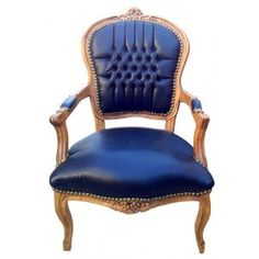 Armchair baroque style of Louis XV False skin black and natural wood color