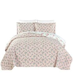Cheque Pattern Bedspread Set 3-piece Quilt Set Pure Cotton Finely Stitched,