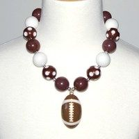 Football Inspired Chuncky Necklace OMG only $5.99 https://www.facebook.com/gabskiaccessories www.gabskia.com