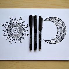 """Day and Night"" Cai Burton's Art Finished my first ever tattoo commission yesterday! A sun and a moon. I really enjoyed creating something a little smaller for a change!"