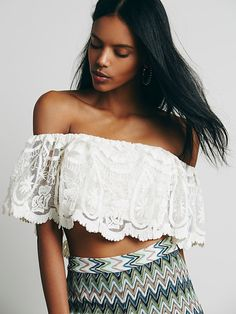 Free People Jens Pirate Booty Lace Off Shoulder Crop | Paired with a maxi skirt this would be such a cute outfit for a maternity session!