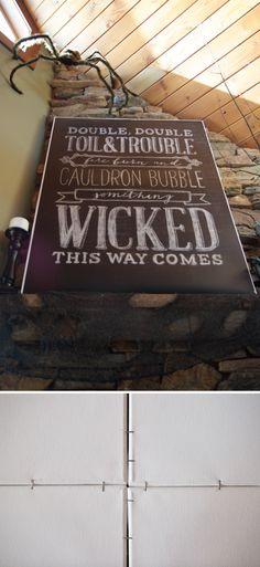 A cheap way to make a canvas poster frame–Halloween art at caravanshoppe.com