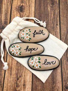 Set of 3 Faith, Hope, and Love pocket rocks. CLICK to see more! #faithhopelove #pocketrocks #faithrocks #pocketstones #alleluiarocks