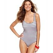 Tommy Hilfiger Swimsuit, Striped Bow Maillot One-Piece