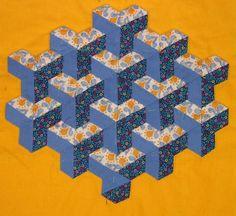 Blue tumbling blocks quilt