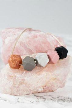The original geometric silicone teething necklace! Necklace & Bracelet Set- Teresa necklace in Marble & Linda bracelet in Rose Quartz Mama & Little