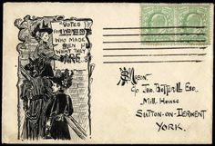Hand Illustrated and Later Printed Envelopes: 1908 (Dec. 30th) very fine pen and ink illustrated envelope ''VOTES FOR WOMEN WHO MADE ME WHAT THEY ARE'', sent from Leeds to Sutton on Derwent with 1902–10 1/2d. pair, very fine and a rare propaganda envelope.
