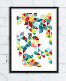Plakat z geometrycznymi wzorami