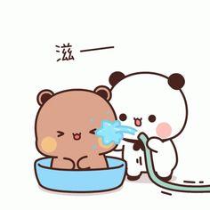 Cute Cartoon Pictures, Cute Love Pictures, Panda Gif, Panda Bear, Cute Bear Drawings, Cartoons Love, Little Panda, Cute Bears, Cute Gif