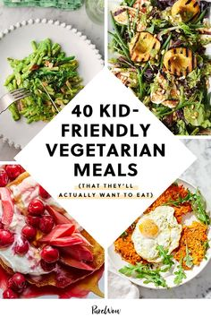 Kids can be super picky eaters, but that doesn't mean they have to eat chicken nuggets for every meal. Here are 40 kid-friendly vegetarian meals they won't just push around on the plate. Family Vegetarian Meals, Vegetarian Recipes Dinner, Dinner Recipes For Kids, Healthy Recipes, Kid Recipes, Vegetarian Recipes Kid Friendly, Picky Toddler Meals, Kids Meals, Eat Meals