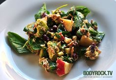 Bodyrock salad! I will definitely be making this soon. Some highlights - apples, kidney beans, spinach, feta, avocado...