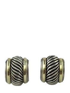 David Yurman Sterling Silver 14k Gold Thoroughbred Semi Hoop Earrings