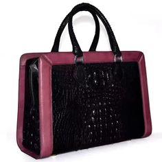 Bag: Crocodile Skin Leather Tote Bag Color: Black/Wine Red Material: Crocodile Hardware:Silver Mea