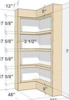 Corner Bookshelves, bookshelves,corner,built ins,bookcases,free woodworking plans,projects,diy
