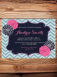 Bridal shower Invitation,Navy, Pink Flowers,Chevron Stripes, Flowers,Wedding Shower, Cute Frame Bridal Shower, Floral, Pink - Item 1127