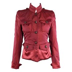 Tom Ford for Yves Saint Laurent Fall 2004 Runway Red Silk Jacket