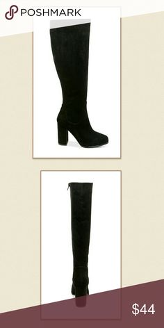 """Madden Girl NIB Klash Dress Boots Super cute boots ftom Madden Girl. New in box, never worn. Zipper closure at inner ankle. Shaft 17"""" height and 16""""circumference. 4 """"block heel. Thanks for looking! Madden Girl Shoes"""