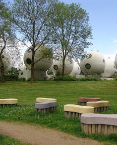 Bolwoningen houses in Hertogenbosch, Netherland ...50 balls of dwelling units built in 1984, designed by the architect Dries Kreijkamp