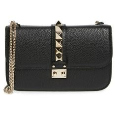 Women's Valentino Medium Lock Studded Leather Shoulder Bag ($2,295) ❤ liked on Polyvore featuring bags, handbags, shoulder bags, nero, valentino purses, shoulder bag handbag, studded leather purse, shoulder handbags and shopper purse