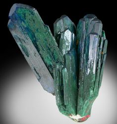 Azurite crystals that have partially altered to green Malachite.