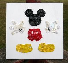 Button crafts Disney - Disney Mickey Mouse Button & Bead Wall Art ~ with Swarovski Crystals ~ Wood Canvas ~ Childs Bedroom or Nursery Decor Disney Button Art, Disney Buttons, Crafts To Make, Fun Crafts, Crafts For Kids, Arts And Crafts, Disney Diy, Disney Crafts, Disney Mickey