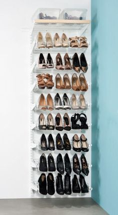 This ultimate shoe storage solution from our modular elfa decor range fits neatly into a cupboard, wardrobe or wall space and comes with enough triple gliding shoe racks to store up to 72 pairs of heeled shoes.