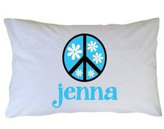 Personalized Peace Sign Pillowcase Standard Size or Travel Sized  www.cutiepatootiecreations.com