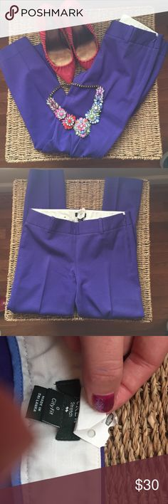 Jcrew city fit pants Cute purple city fit pants! In excellent condition. Dry cleaned and ready for a new home! J. Crew Pants Ankle & Cropped