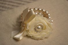 Vera Grace Pearl: Double Strand Ivory Pearl Bridal Bracelet, Ivory Ribbon Bow, & Large Ivory Fabric Flower with Rhinestone / Pearl Center