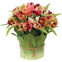 Faux Tulip Leaf Arrangement I Winward Designs Liked On Polyvore Featuring Home Decor