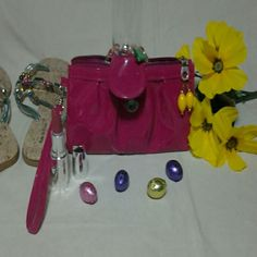Wristlet  Purse. Hot Pink,Snap closure, Bleating  in front of  wristlet, Zipper. Just So Sexy of a style. Boutique 9 Bags Clutches & Wristlets