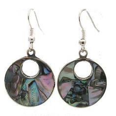 Alpaca Silver Open Abalone Drop Earrings - Artisana