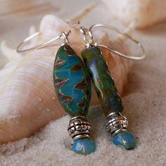 Long Milky Aqua Bead Earrings by mompotter on Etsy, $11.00