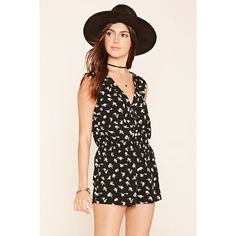 Forever 21 Women's  Floral Print Lace-Up Romper ($18) ❤ liked on Polyvore featuring jumpsuits, rompers, sleeveless romper, sleeveless rompers, forever 21, v neck romper and floral romper
